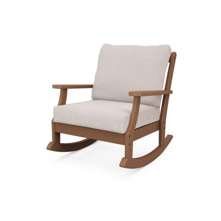 Braxton Deep Seating Rocking Chair in Teak / Dune Burlap