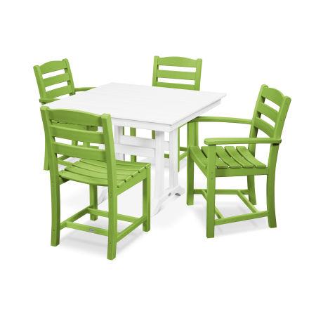 La Casa Café 5-Piece Farmhouse Trestle Dining Set in Lime / White