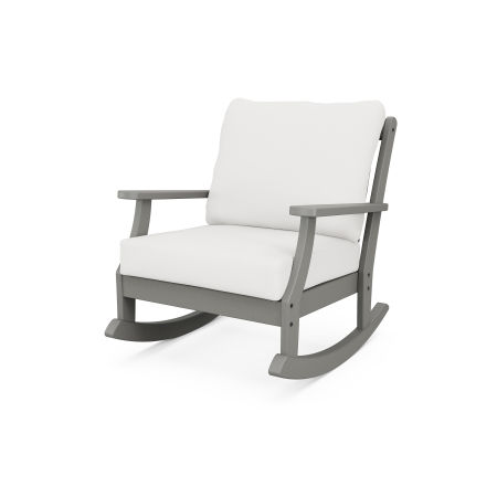 Braxton Deep Seating Rocking Chair in Slate Grey / Natural Linen