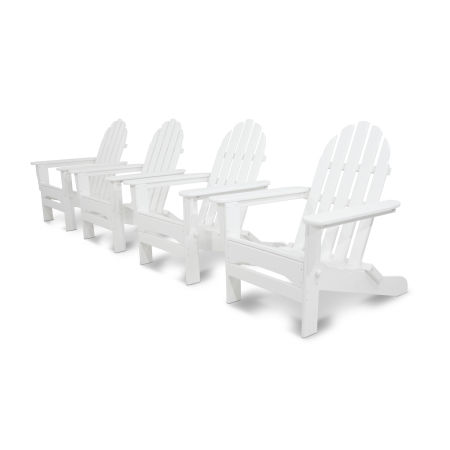 Classics 4-Piece Folding Adirondack Conversation Set in White