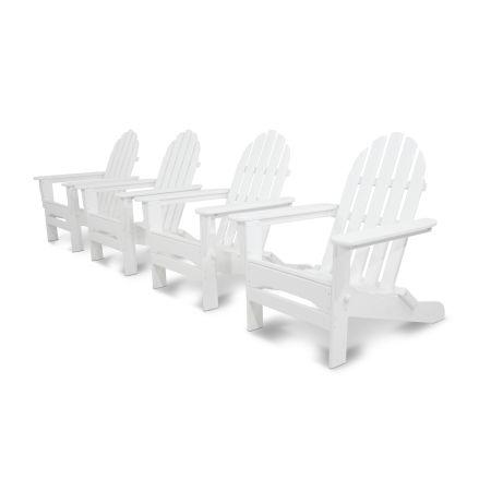 Classics 4-Piece Folding Adirondack Conversation Set in White