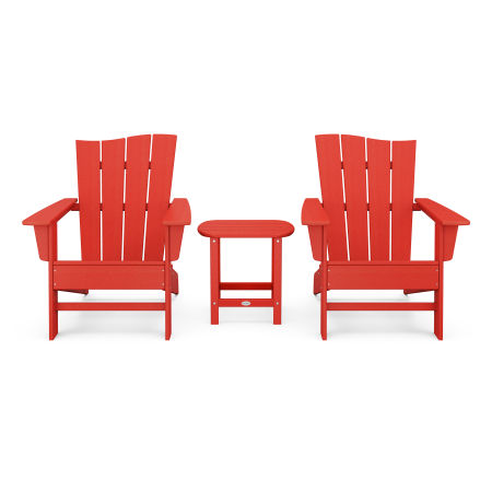 Wave 3-Piece Adirondack Chair Set in Sunset Red