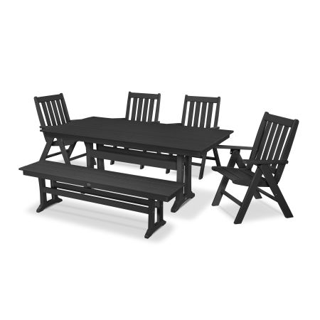 Vineyard 6-Piece Farmhouse Folding Dining Set with Bench in Black