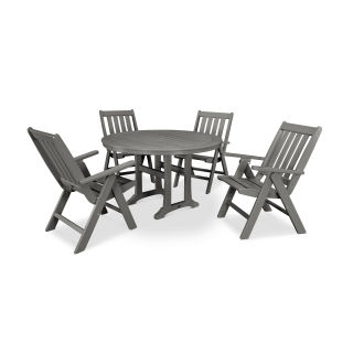Vineyard 5-Piece Nautical Trestle Folding Dining Set