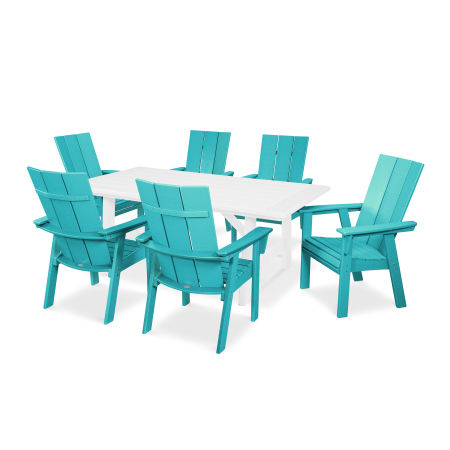 Modern Adirondack 7-Piece Rustic Farmhouse Dining Set in Aruba / White