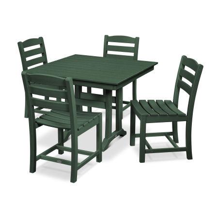 La Casa Café 5-Piece Farmhouse Trestle Side Chair Dining Set in Green