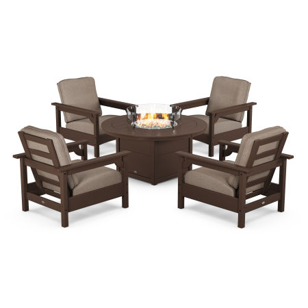 Club 5-Piece Conversation Set with Fire Pit Table in Mahogany / Spiced Burlap