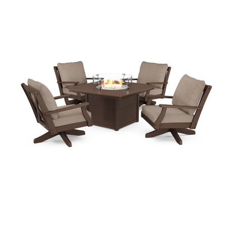 Braxton 5-Piece Deep Seating Swivel Conversation Set with Fire Pit Table in Mahogany / Spiced Burlap