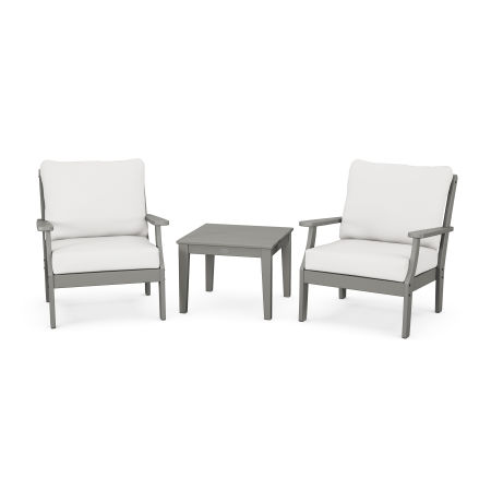 Braxton 3-Piece Deep Seating Set in Slate Grey / Natural Linen