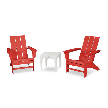 Modern Adirondack 3-Piece Set in Sunset Red / White
