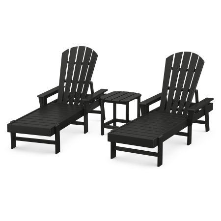 South Beach Chaise 3-Piece Set in Black