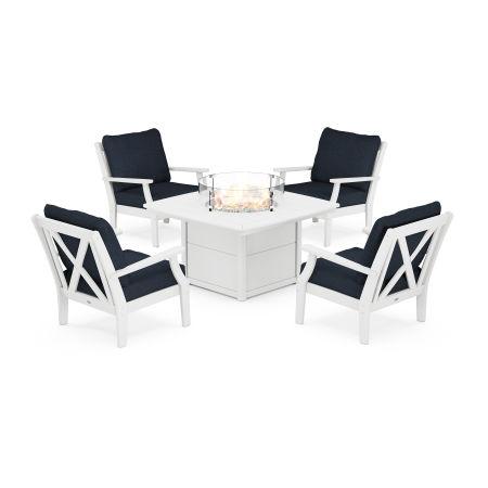 Braxton 5-Piece Deep Seating Conversation Set with Fire Pit Table in White / Marine Indigo