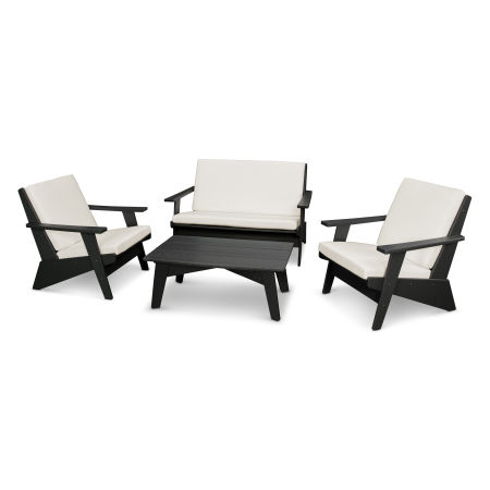 Riviera Modern Lounge 4-Piece Set in Black / Bird's Eye