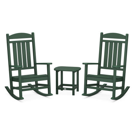 Presidential Rocking Chair 3-Piece Set in Green