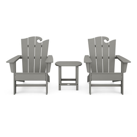 Wave 3-Piece Adirondack Set with The Ocean Chair in Slate Grey