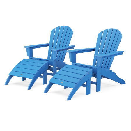 South Beach 4-Piece Adirondack Set in Pacific Blue