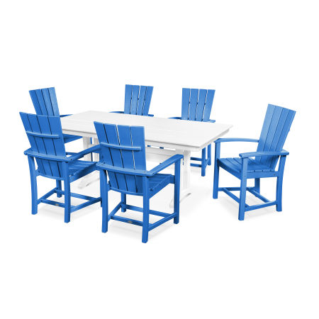 Quattro 7-Piece Farmhouse Dining Set in Pacific Blue / White