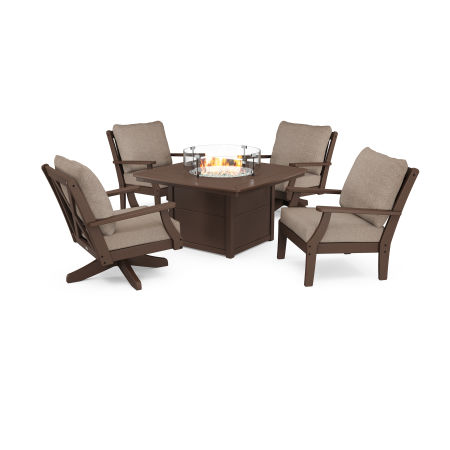 Braxton 5-Piece Deep Seating Set with Fire Table in Mahogany / Spiced Burlap