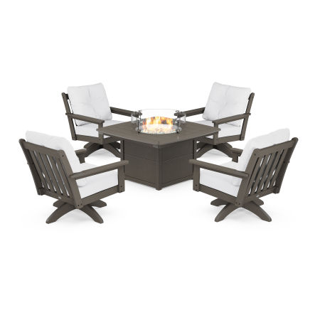 Vineyard 5-Piece Deep Seating Swivel Conversation Set with Fire Pit Table in Vintage Finish