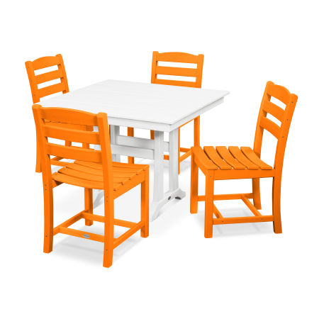 La Casa Café 5-Piece Farmhouse Trestle Side Chair Dining Set in Tangerine / White