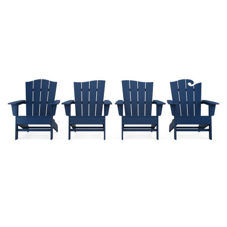 Wave Collection 4-Piece Adirondack Chair Set in Navy