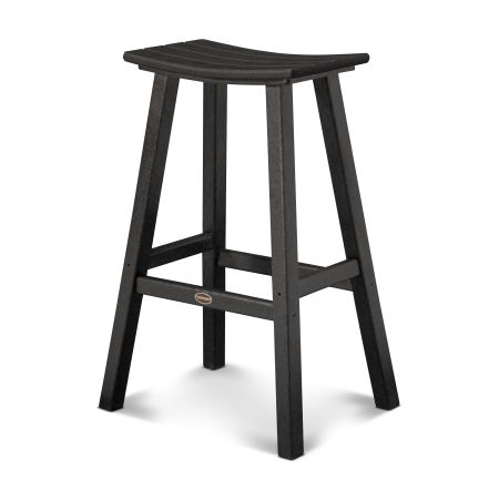 """Traditional 30"""" Saddle Bar Stool in Black"""