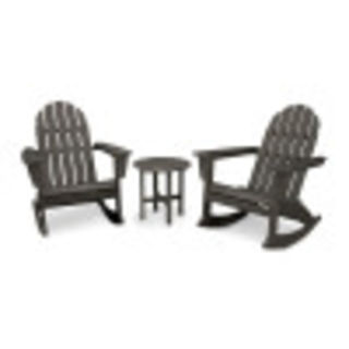 Vineyard 3-Piece Adirondack Rocking Chair Set in Vintage Finish