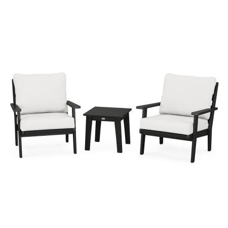 Grant Park 3-Piece Deep Seating Set in Black / Natural Linen