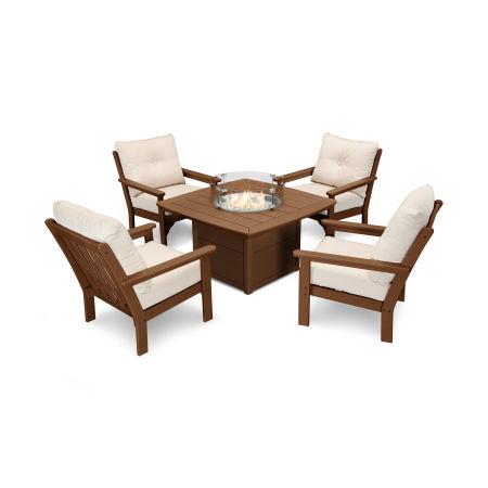 Vineyard 5-Piece Conversation Set with Fire Pit Table in Teak / Antique Beige