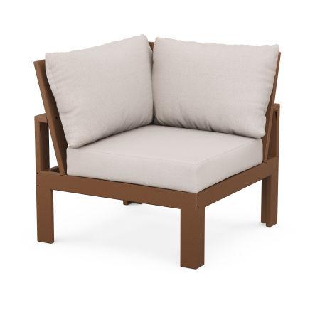 Modular Corner Chair in Teak / Dune Burlap
