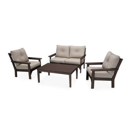 Vineyard 4-Piece Deep Seating Set in Mahogany / Cast Ash