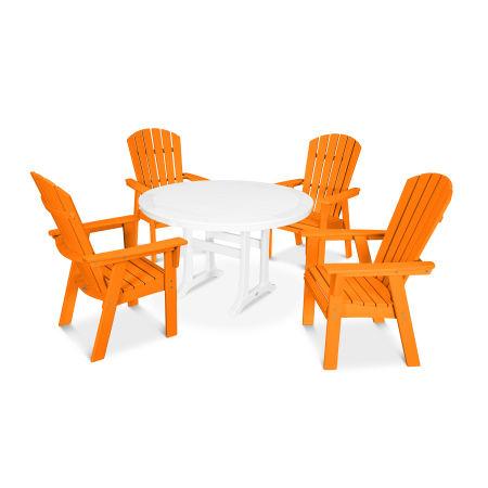 Nautical Adirondack 5-Piece Round Trestle Dining Set in Tangerine / White