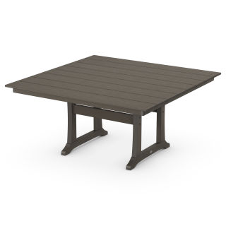 """Farmhouse Trestle 59"""" Dining Table in Vintage Finish"""