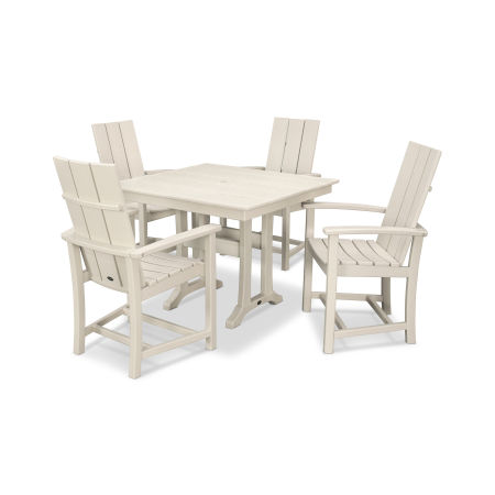 Modern Adirondack 5-Piece Farmhouse Trestle Dining Set in Sand