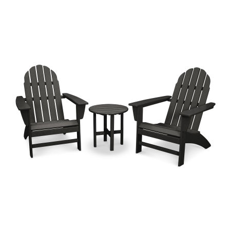 Vineyard 3-Piece Adirondack Set in Black
