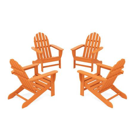 4-Piece Classic Adirondack Conversation Set in Tangerine