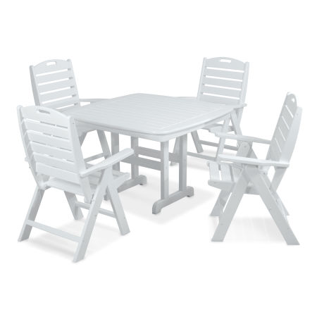 Nautical 5-Piece Dining Set in White