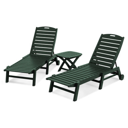 Nautical 3-Piece Chaise Set in Green