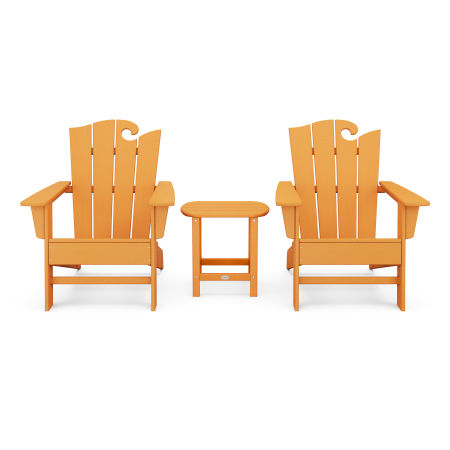 Wave 3-Piece Adirondack Set with The Ocean Chair in Tangerine