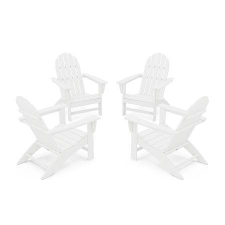 Vineyard 4-Piece Adirondack Conversation Set in White
