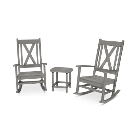 Braxton 3-Piece Porch Rocking Chair Set in Slate Grey