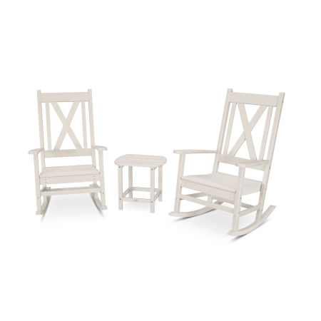 Braxton 3-Piece Porch Rocking Chair Set in Sand