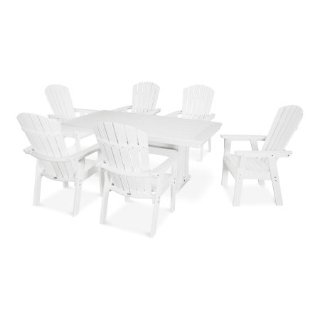 Nautical Adirondack 7-Piece Trestle Dining Set in White
