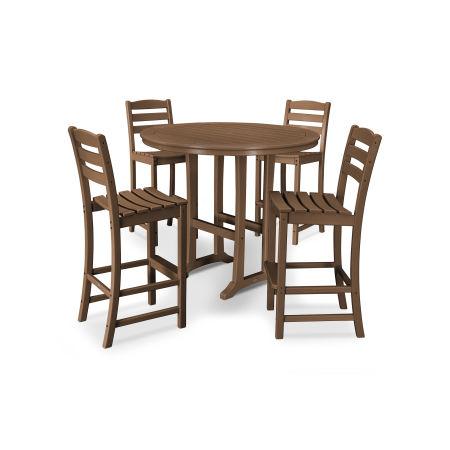 La Casa Café 5 Piece Side Chair Bar Dining Set in Teak