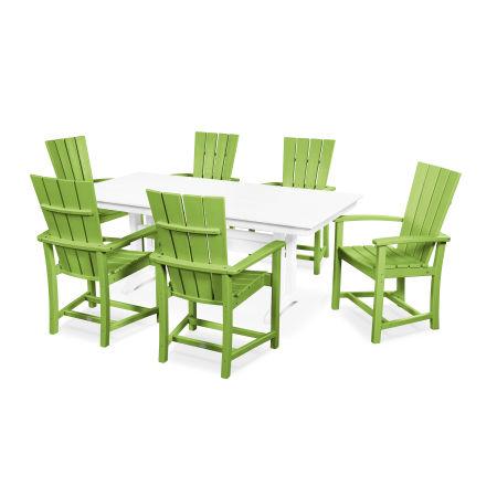 Quattro 7-Piece Farmhouse Dining Set in Lime / White