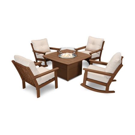 Vineyard 5-Piece Deep Seating Rocking Chair Conversation Set with Fire Pit Table in Teak / Antique Beige