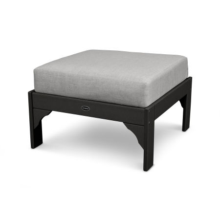 Vineyard Ottoman in Black / Canvas Granite