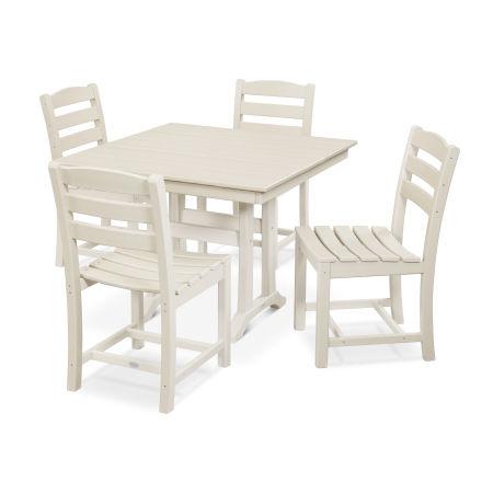 La Casa Café 5-Piece Farmhouse Trestle Side Chair Dining Set in Sand