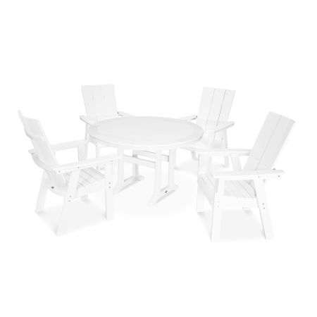 Modern Adirondack 5-Piece Nautical Trestle Dining Set in White