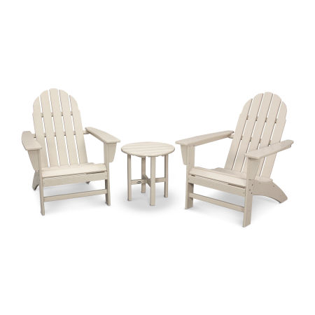 Vineyard 3-Piece Adirondack Set in Sand
